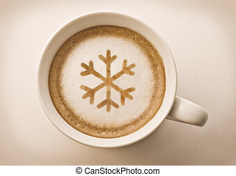 christmas snow flake latte art cup