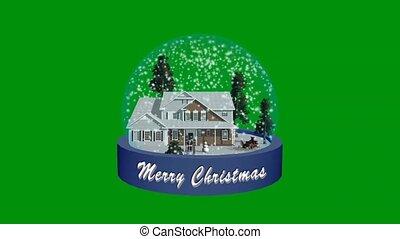 christmas snow globe animation - green screen effect