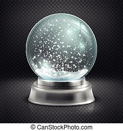 Christmas snow globe isolated on transparent checkered background vector illustration. Winter in glass ball, crystal dome with snowflake