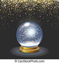 Christmas snow globe on black background falling gold glittering confetti Vector 3d illustration