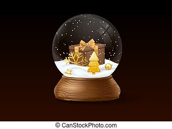 Christmas snow globe on black background.