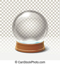 Christmas snow globe on checkered background. Magic ball
