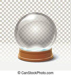 Christmas snow globe on checkered background. Magic ball...