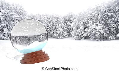 Christmas snow globe on snowy field