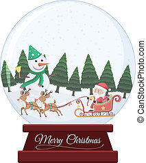Christmas snow globe on white background
