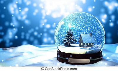 Christmas Snow globe Snowflake with Snowfall on Blue...
