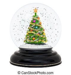 Christmas snow globe with Christmas tree, 3D rendering