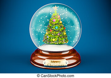 Christmas snow globe with Christmas tree inside, 3D rendering