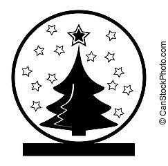 Christmas snow globe with christmas tree within