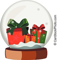 Christmas Snow Globe With Gifts.