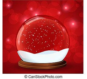 christmas snow globe with glitterin