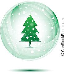 Christmas snow globe with green christmas tree
