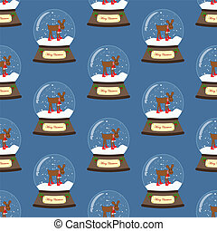 Christmas snow globe with moose seamless pattern