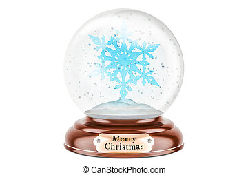 Christmas snow globe with snowflake inside, 3D rendering