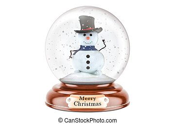Christmas snow globe with snowman inside, 3D rendering