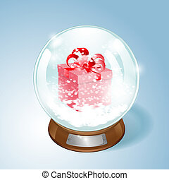 Christmas Snow globe with the gift and the falling snow