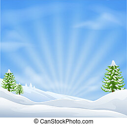 Christmas snow landscape background - An illustration of an...