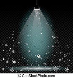 Christmas snow on lamp light