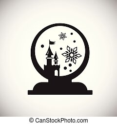 Christmas snow sphere on white background