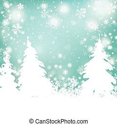 Christmas Snow Winter Background Fir Trees