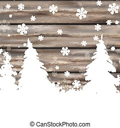 Christmas Snow Winter Worn Wood Fir Trees - Snowflakes with...