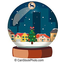 Christmas snowball with winter city.