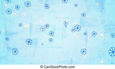 christmas snowfall child's drawing style seamless loop