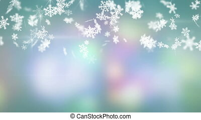 christmas snowfall on colorful background seamless loop