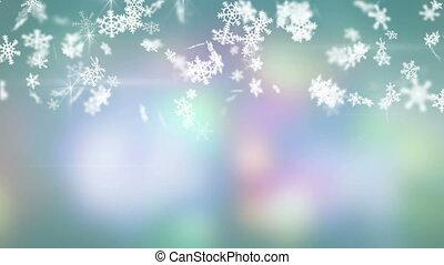christmas snowfall on colorful background seamless loop
