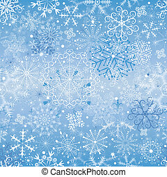 Christmas blue and silvery seamless pattern with snowfall (vector)