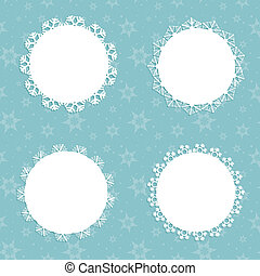 Collection of four different snowflake backgrounds