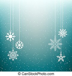 Christmas snowflake blue winter background