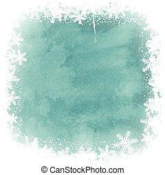 christmas snowflake border on watercolor background 2410