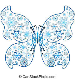 Christmas snowflake-butterfly