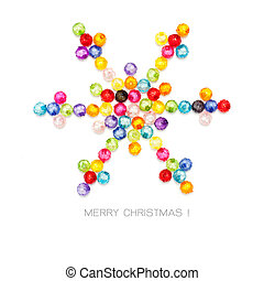 Christmas snowflake decorate by colorful beads on white background