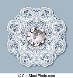 christmas snowflake decoration with diamond jewel