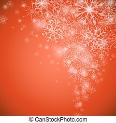 Christmas snowflake flow red vector background with copy space.