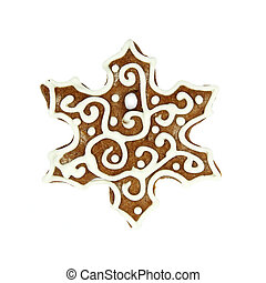 christmas snowflake gingerbread on white background