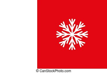 Christmas snowflake icon and sign design on red and green background.