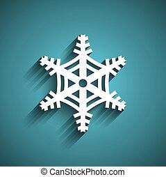 Christmas Snowflake in blue background. 3D paper style