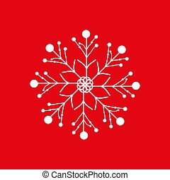 Christmas snowflake isolated on red background