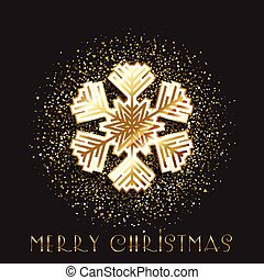 Christmas snowflake on a gold glitter background