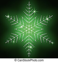 Christmas snowflake on a green background.