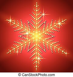 Christmas snowflake on a red background. Vector illustration.