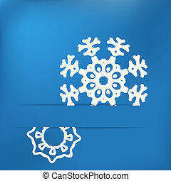 Christmas snowflake on blue . + EPS8