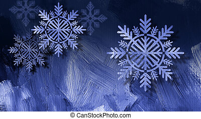 Christmas snowflake ornaments on blue brushstroke background