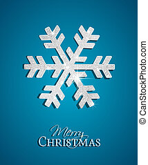 Silver Christmas Snowflake on a blue background