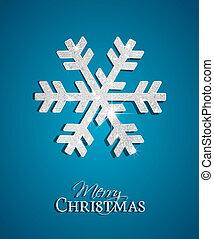 Christmas snowflake - Silver Christmas Snowflake on a blue...