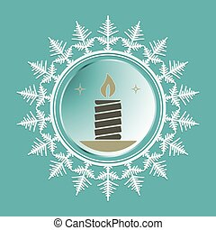 Christmas snowflake with a candle inside - emblem of a...
