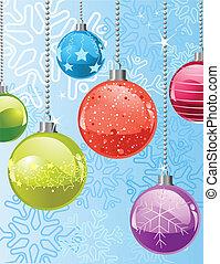 Christmas snowflakes and balls